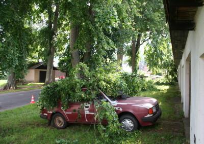 Zde jsme neházeli větve na starou škodovku, ale preventivně větvemi přikryli, aby při se jí při řezu nic nepřihodilo :)
